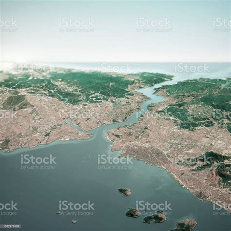 Istanbul Turkey 3d Render Horizon Aerial View From South