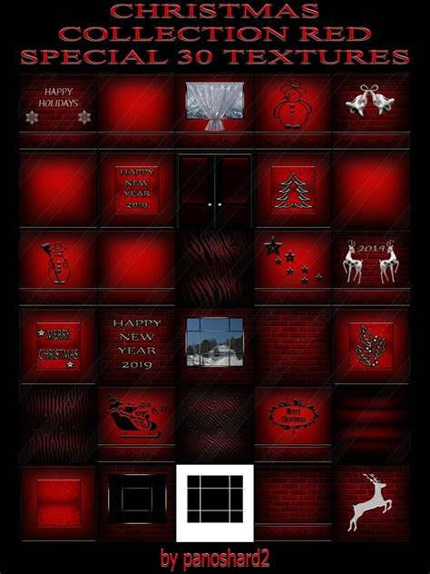 CHRISTMAS COLLECTION RED SPECIAL 30 TEXTURES FOR IMVU