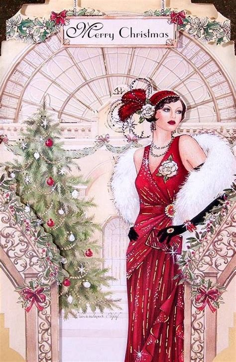 Art Deco Woman in Red Merry Xmas | Art deco cards, Art