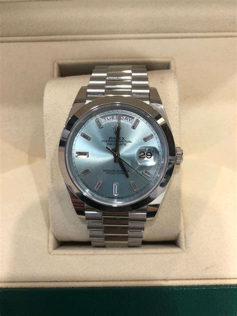 Rolex Day-Date 40 Platinum and baguette diamond dial watch